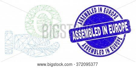 Web Mesh Euro Coin Donation Hand Pictogram And Assembled In Europe Seal Stamp. Blue Vector Round Tex