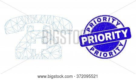 Web Carcass First Aid Phone Pictogram And Priority Seal Stamp. Blue Vector Rounded Distress Stamp Wi