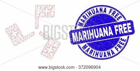 Web Mesh Medical Flags Icon And Marihuana Free Stamp. Blue Vector Round Textured Seal Stamp With Mar