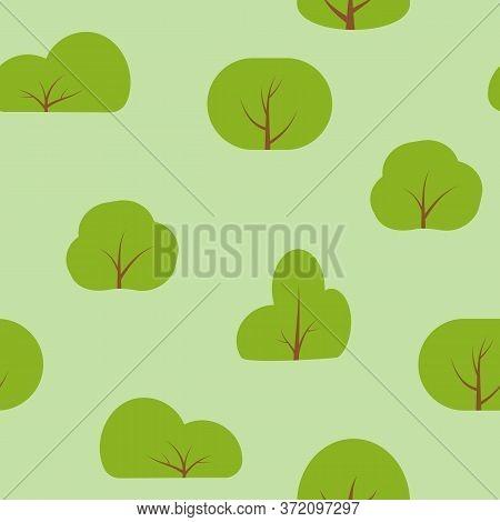 Green Bush Seamless Pattern. Park Outdoor Limitless Background. Abstract Flat Cartoon Ecology Nature