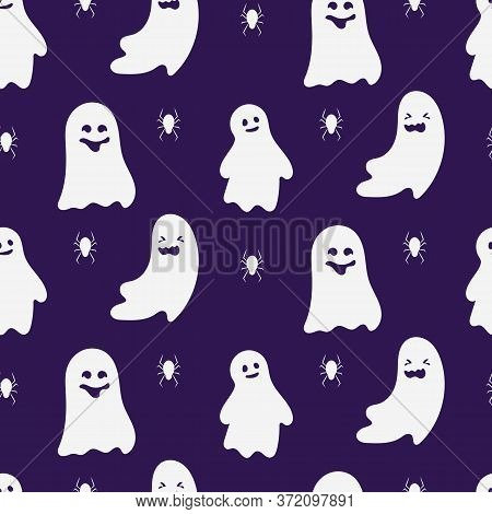 Ghost Character Seamless Pattern. Design Limitless Background Of Creepy Funny Cute Ghostly Halloween