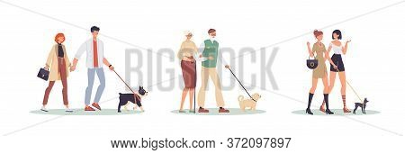 Happy People Character Walking Dog Outdoor Set. Young Casual Wife Husband, Senior Mature Man Woman C