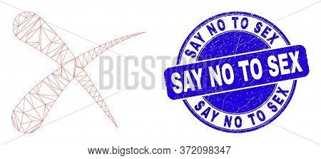 Web Carcass Erase Icon And Say No To Sex Watermark. Blue Vector Round Scratched Seal With Say No To