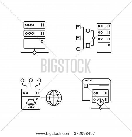 Internet Accessibility Linear Icons Set. Secure Access Customizable Thin Line Contour Symbols. Safe
