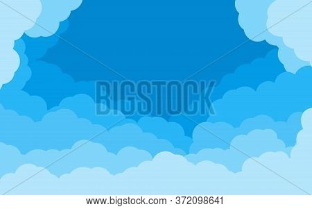 Blue Background Sky Of Cartoon Flat Style. Cover Air Effect With Border Of White Clouds. Cloudy Heav
