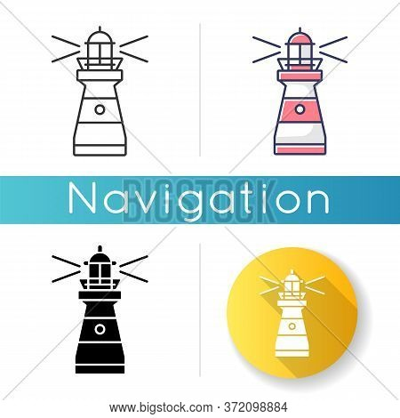 Lighthouse Icon. Traditional Maritime Navigational Landmark. Linear Black And Rgb Color Styles. Warn