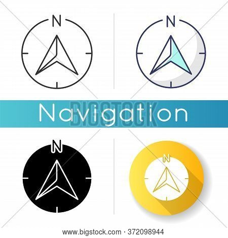 Navigator Arrow Icon. Modern Navigation Technology, Global Positioning System, Geolocation. Linear B