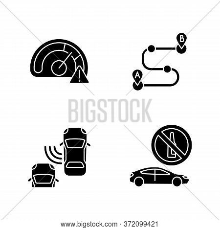 Driving Risks Black Glyph Icons Set On White Space. Traffic Dangers And Safety Precautions Silhouett