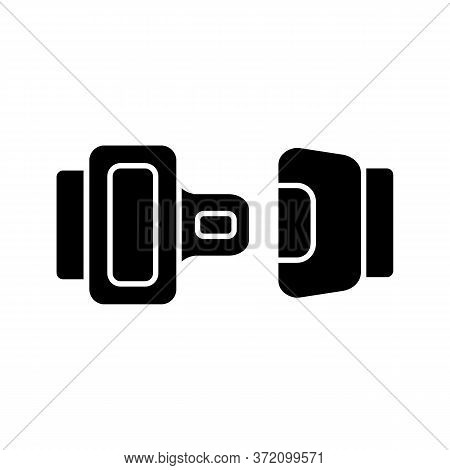Seat Belt Black Glyph Icon. Safe Driving Rule, Security Measure, Safety Precaution Silhouette Symbol
