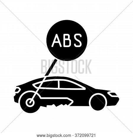 Anti Lock System Black Glyph Icon. Safe Driving, Automobile Security Measure, Car Safety Precaution