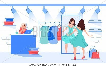 Beautiful Woman Choosing Fitting Dress At Fashion Showroom Boutique Spinning Front Of Mirror. Attrac