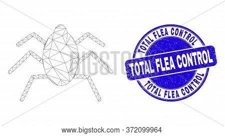 Web Mesh Mire Tick Pictogram And Total Flea Control Watermark. Blue Vector Round Distress Watermark