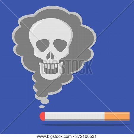 Cigarette Smoke And A Burning Cigarette Are Isolated On A Blue Background. Concept Of Harm Of Tobacc