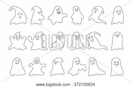 Ghost Character Black Line Set. Simple Template Scary Spook Symbol Halloween. Empty Outline Funny Cu