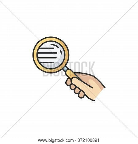Magnify Glass Rgb Color Icon. Hand With Lens. Close Inspection. Search For Information. Freelance De