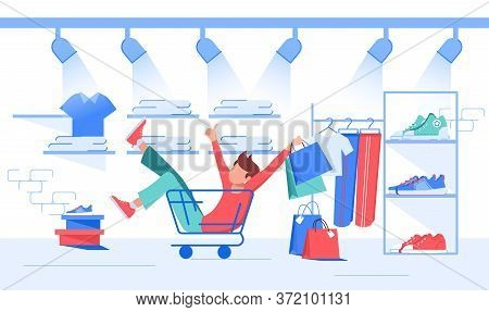 Funny Young Man Shopper Character Riding Sitting In Trolley Cart Making Purchase. Crazy Shopping, Se