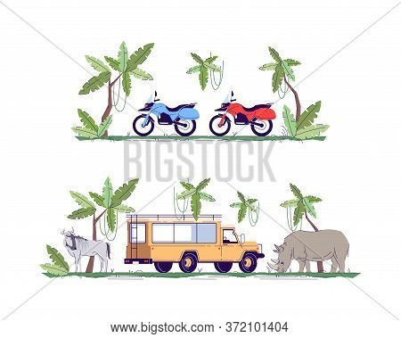 Truck And Motorcycle Semi Flat Rgb Color Vector Illustration Set. Jungle Exploration. Tour To Savann