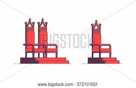 Royal Throneroom Semi Flat Rgb Color Vector Illustration. Elegant Seat For Fantasy Nobility. Luxury
