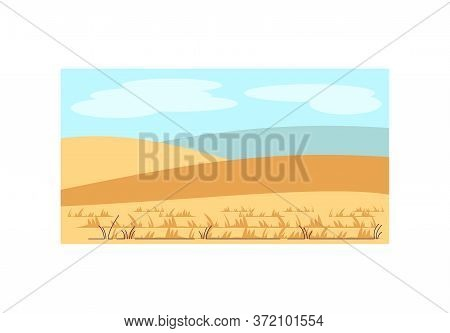 Farmland Semi Flat Vector Illustration. Hills With Harvest. Rural Land. Middle Age Scenery. Ranch Pa