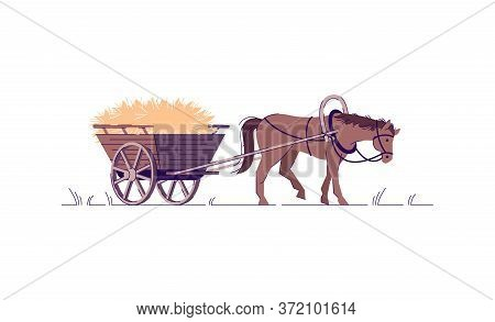 Farming Labor Semi Flat Rgb Color Vector Illustration. Harvest In Wagon. Animal In Harness To Work O