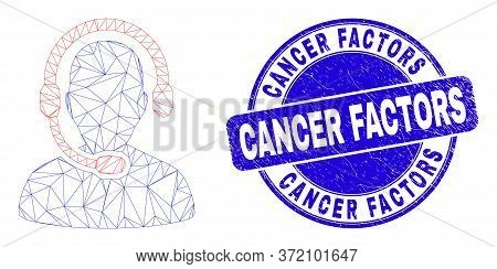 Web Carcass Radio Operator Pictogram And Cancer Factors Stamp. Blue Vector Round Scratched Seal Stam