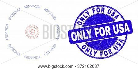 Web Mesh Round Perimeter Icon And Only For Usa Seal. Blue Vector Rounded Textured Seal With Only For