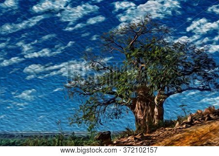 Huge Baobab Tree Beside Dirt Road In The Flat Landscape Of Serengeti National Park. A Conservation A
