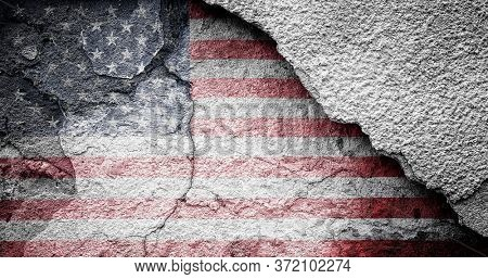 American flag painted on an old scratched wall