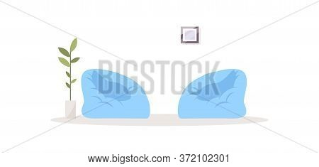 Two Bag Chairs Semi Flat Rgb Color Vector Illustration. Comfortable Blue Opposing Chairs For Relaxat