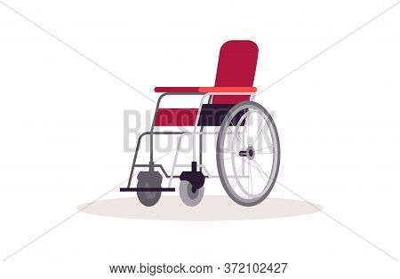 Wheelchair Semi Flat Rgb Color Vector Illustration. Invalid Person Transportation. Physical Injury A