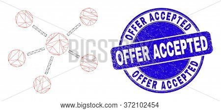 Web Carcass Relations Pictogram And Offer Accepted Seal Stamp. Blue Vector Round Scratched Seal Stam