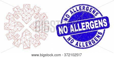 Web Mesh Tools Gear Pictogram And No Allergens Seal Stamp. Blue Vector Round Distress Seal Stamp Wit