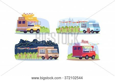 Food Trucks Semi Flat Vector Illustration Set. Van To Sell Hot Dog. Food Court With Chairs And Table