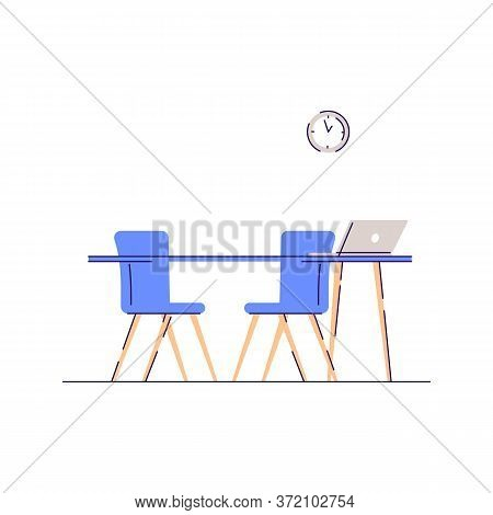 Workplace Consultation Semi Flat Rgb Color Vector Illustration. Desktop For Corporate Meeting. Offic