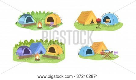 Campsite In Forest Semi Flat Vector Illustration Set. Colorful Tents With Furniture. Camping Outdoor