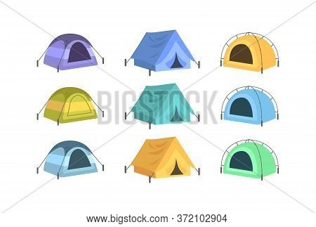 Colorful Tents Semi Flat Vector Illustration Set. Summer Recreation, Rest After Hiking. Campsite Can