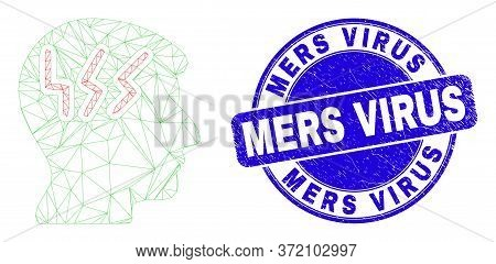 Web Mesh Migraine Head Icon And Mers Virus Watermark. Blue Vector Round Grunge Seal Stamp With Mers