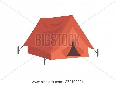Red Tent With Pegs Semi Flat Rgb Color Vector Illustration. Summer Recreation, Rest After Hiking. Ca