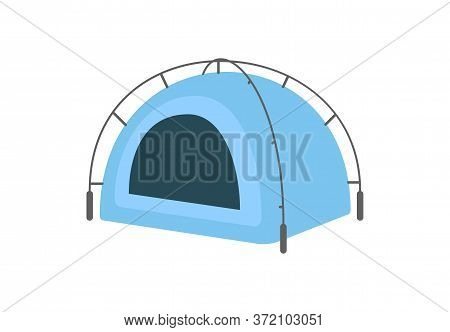 Round Blue Tent Semi Flat Rgb Color Vector Illustration. Summer Recreation, Rest After Hiking. Camps