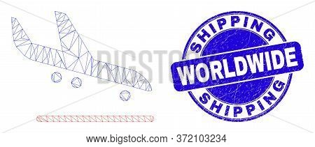 Web Mesh Airplane Arrival Icon And Shipping Worldwide Seal. Blue Vector Rounded Textured Seal With S