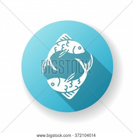 Pisces Zodiac Sign Blue Flat Design Long Shadow Glyph Icon. Horoscope Fish. Astrological Birth Sign.