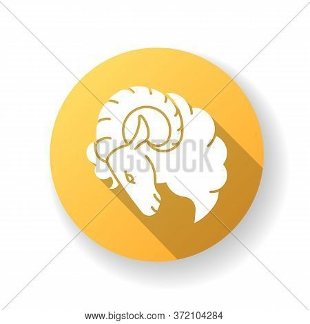 Aries Zodiac Sign Yellow Flat Design Long Shadow Glyph Icon. Horoscope Ram. Astrological Birth Sign.