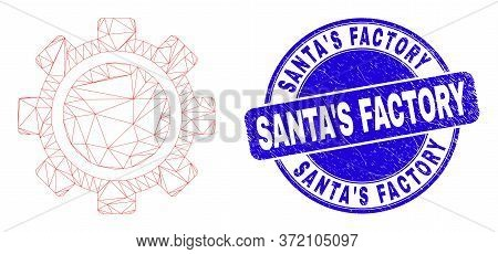 Web Carcass Gear Icon And Santa's Factory Seal Stamp. Blue Vector Round Grunge Seal Stamp With Santa
