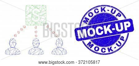 Web Mesh Financial Clients Links Icon And Mock-up Seal Stamp. Blue Vector Round Distress Seal Stamp