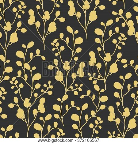 Abstract Branch With Leaves Seamless Pattern. Limitless Black Background With Gold Floral Flat Carto