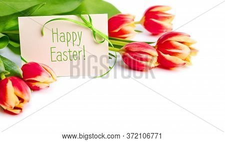 Text Happy Easter On Paper Card With Green Ribbon. Bunch Of Red And Yellow Stripy Tulips On White Ba