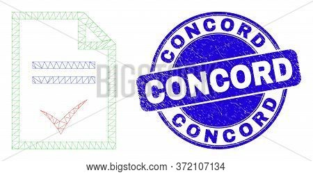 Web Carcass Agreement Page Icon And Concord Seal Stamp. Blue Vector Rounded Distress Seal Stamp With