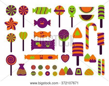 Halloween Flat Sweet And Candy Icons Set. Jelly, Candy Cane Assortment, Lollipop, Dragee, Marshmallo