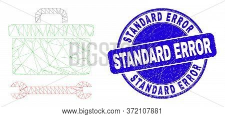 Web Mesh Toolbox Wrench Icon And Standard Error Stamp. Blue Vector Rounded Textured Seal Stamp With