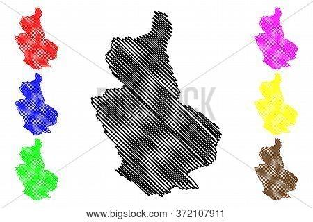 Trongsa District (districts Of Bhutan, Kingdom Of Bhutan) Map Vector Illustration, Scribble Sketch T